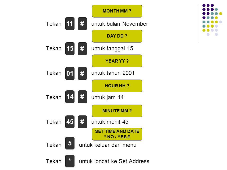 Tekan untuk bulan November Tekan untuk tanggal 15 Tekan untuk tahun 2001 Tekan untuk jam 14 Tekan untuk menit 45 Tekan untuk keluar dari menu Tekan untuk loncat ke Set Address # MONTH MM .