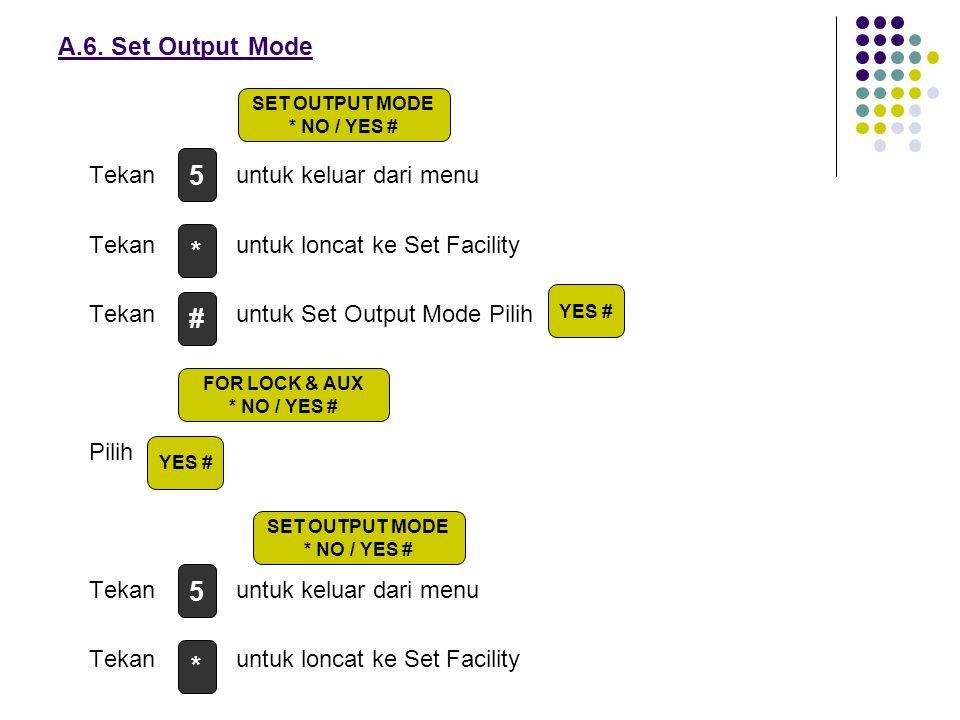 A.6. Set Output Mode Tekan untuk keluar dari menu Tekan untuk loncat ke Set Facility Tekan untuk Set Output Mode Pilih Pilih Tekan untuk keluar dari m