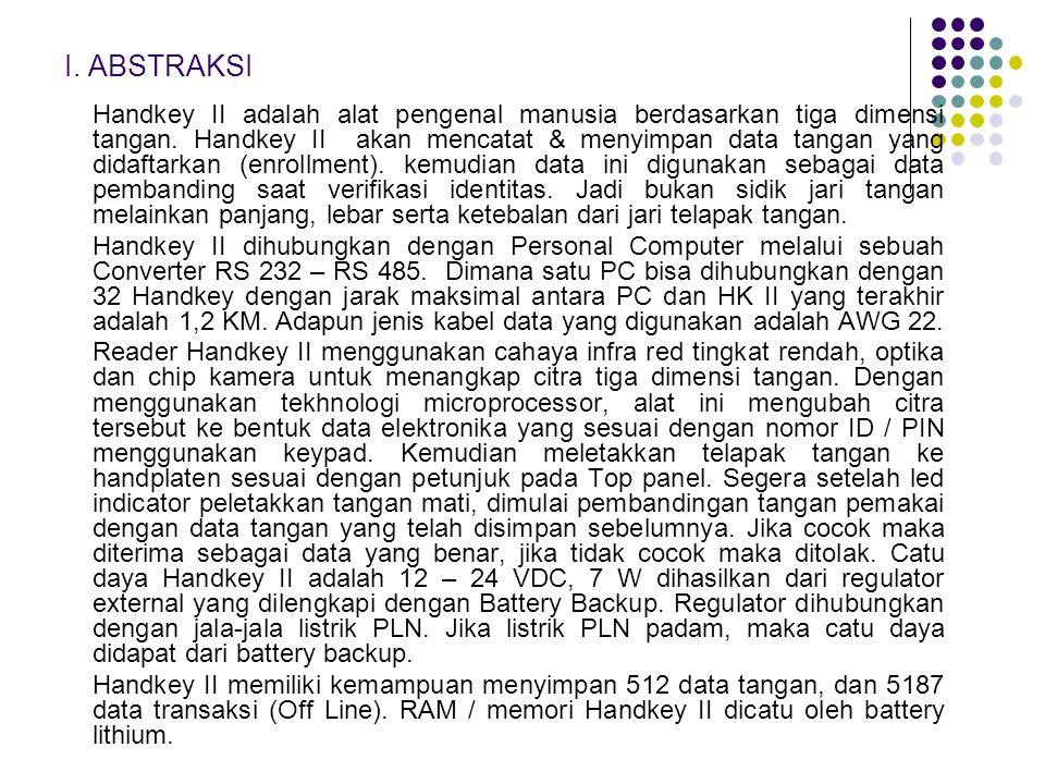 I. ABSTRAKSI Handkey II adalah alat pengenal manusia berdasarkan tiga dimensi tangan. Handkey II akan mencatat & menyimpan data tangan yang didaftarka