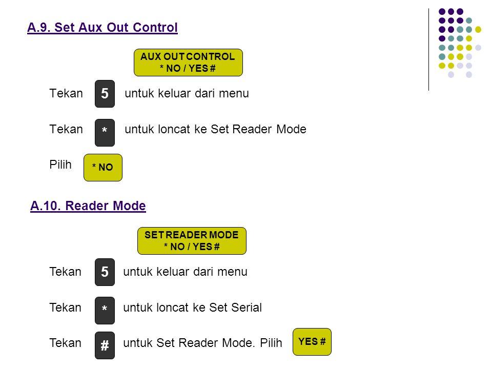 Tekan untuk keluar dari menu Tekan untuk loncat ke Set Reader Mode Pilih A.9. Set Aux Out Control A.10. Reader Mode Tekan untuk keluar dari menu Tekan