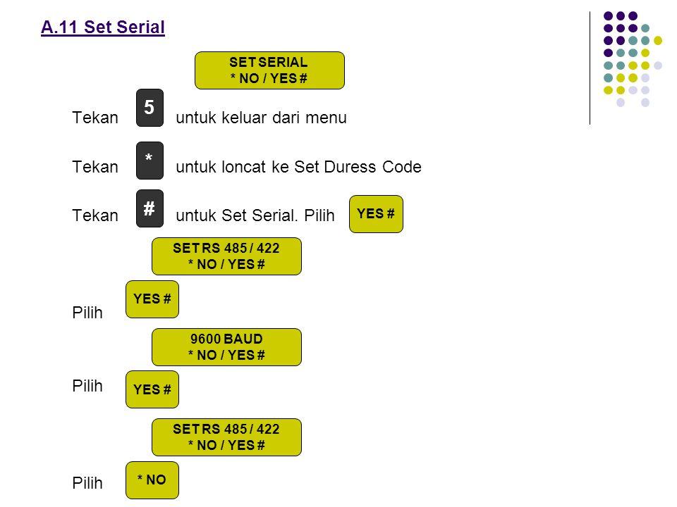 Tekan untuk keluar dari menu Tekan untuk loncat ke Set Duress Code Tekan untuk Set Serial. Pilih Pilih A.11 Set Serial # 5 * YES # SET SERIAL * NO / Y