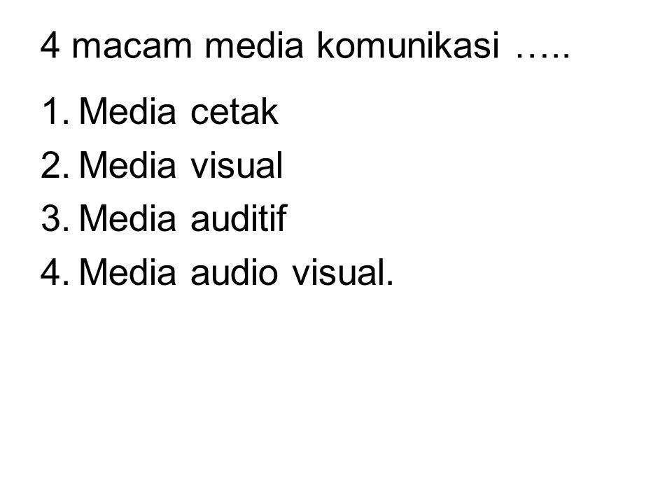 4 macam media komunikasi ….. 1.Media cetak 2.Media visual 3.Media auditif 4.Media audio visual.