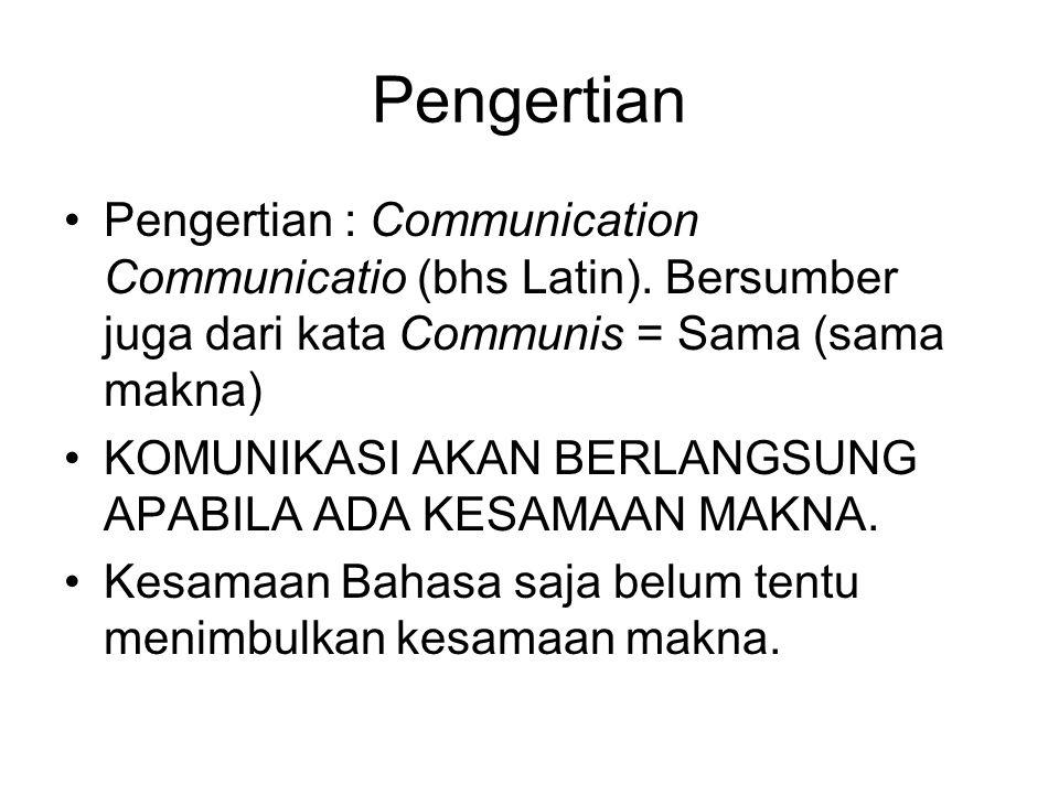 Pengertian Pengertian : Communication Communicatio (bhs Latin). Bersumber juga dari kata Communis = Sama (sama makna) KOMUNIKASI AKAN BERLANGSUNG APAB