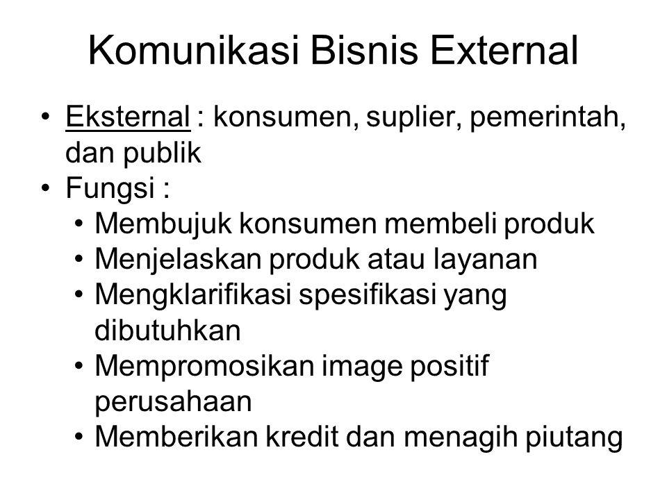 Komunikasi Bisnis External Eksternal : konsumen, suplier, pemerintah, dan publik Fungsi : Membujuk konsumen membeli produk Menjelaskan produk atau lay