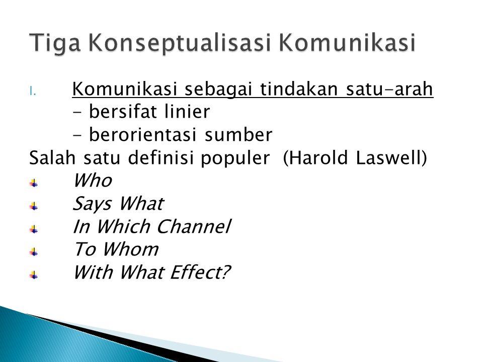 I. Komunikasi sebagai tindakan satu-arah - bersifat linier - berorientasi sumber Salah satu definisi populer (Harold Laswell) Who Says What In Which C