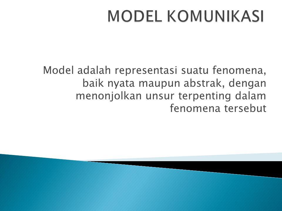 Model adalah representasi suatu fenomena, baik nyata maupun abstrak, dengan menonjolkan unsur terpenting dalam fenomena tersebut