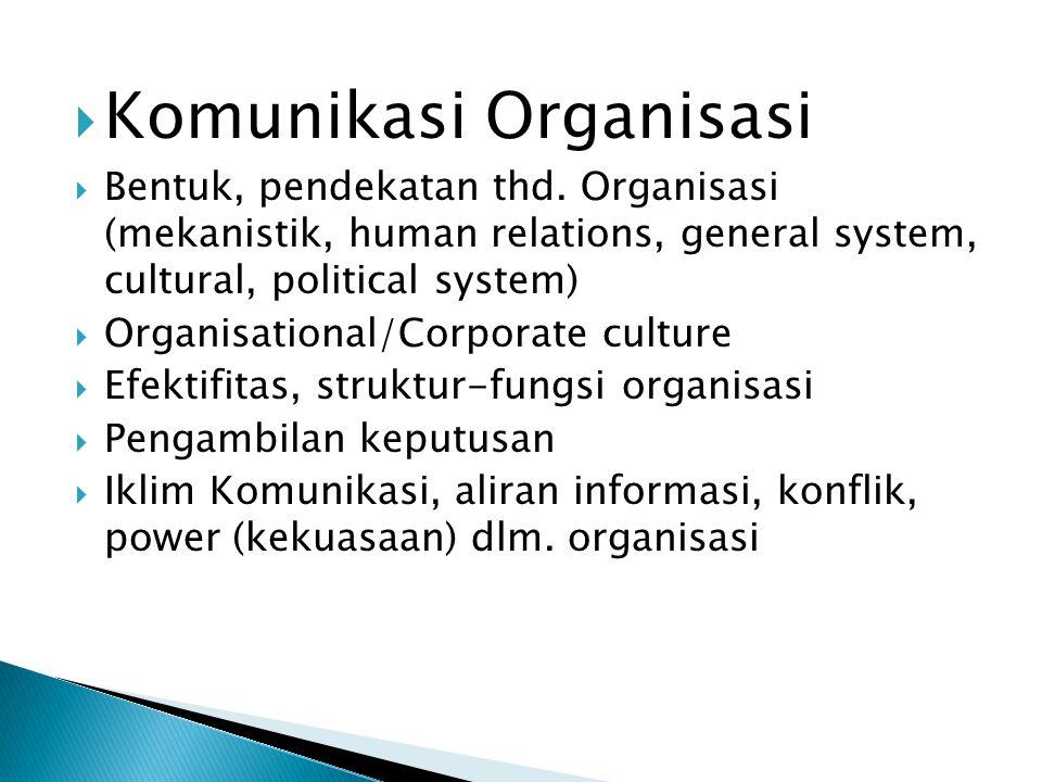  Komunikasi Organisasi  Bentuk, pendekatan thd.