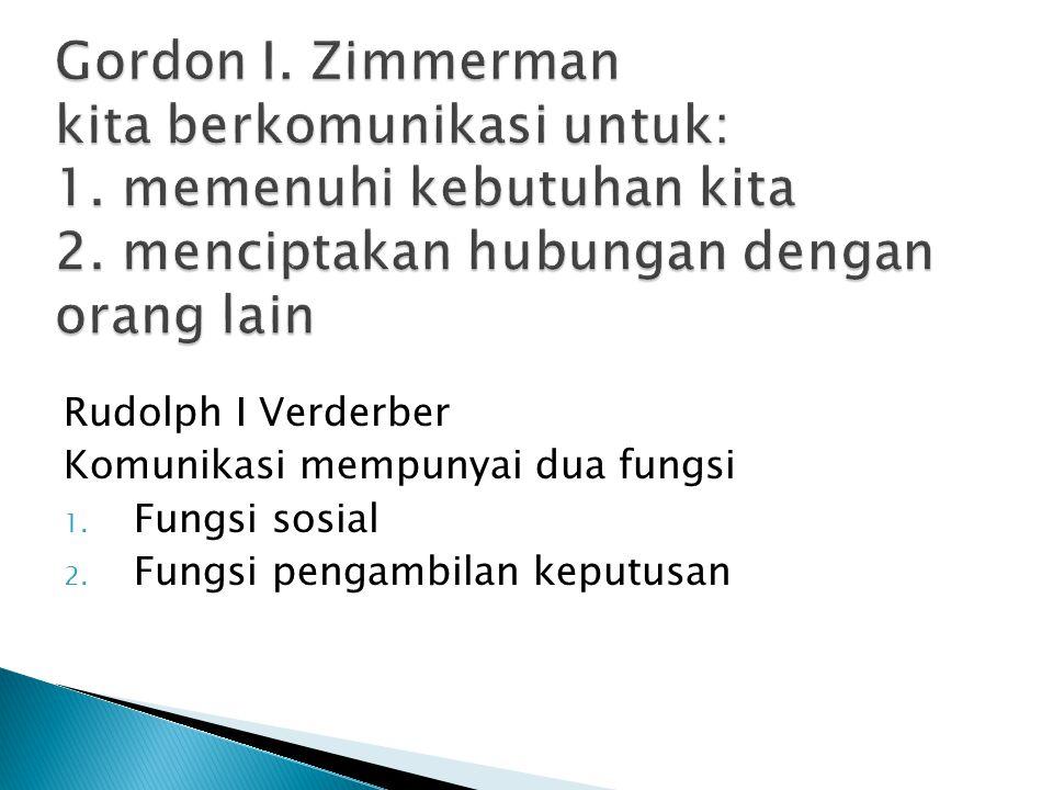 Rudolph I Verderber Komunikasi mempunyai dua fungsi 1.
