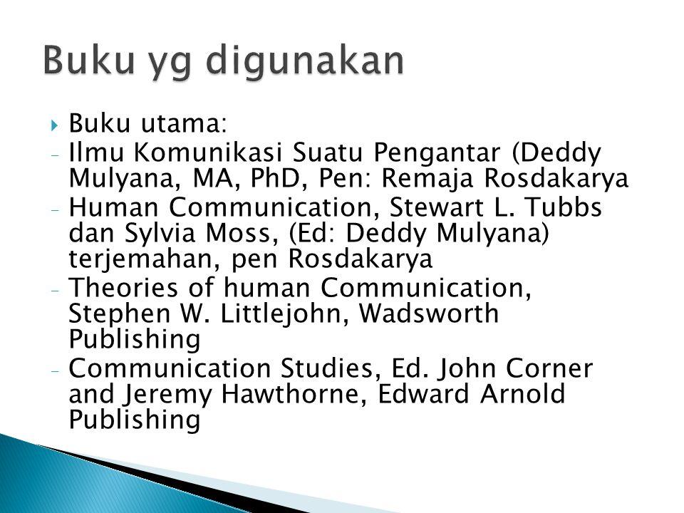  Buku utama: - Ilmu Komunikasi Suatu Pengantar (Deddy Mulyana, MA, PhD, Pen: Remaja Rosdakarya - Human Communication, Stewart L.