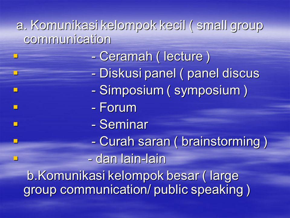 a.Komunikasi kelompok kecil ( small group communication a.
