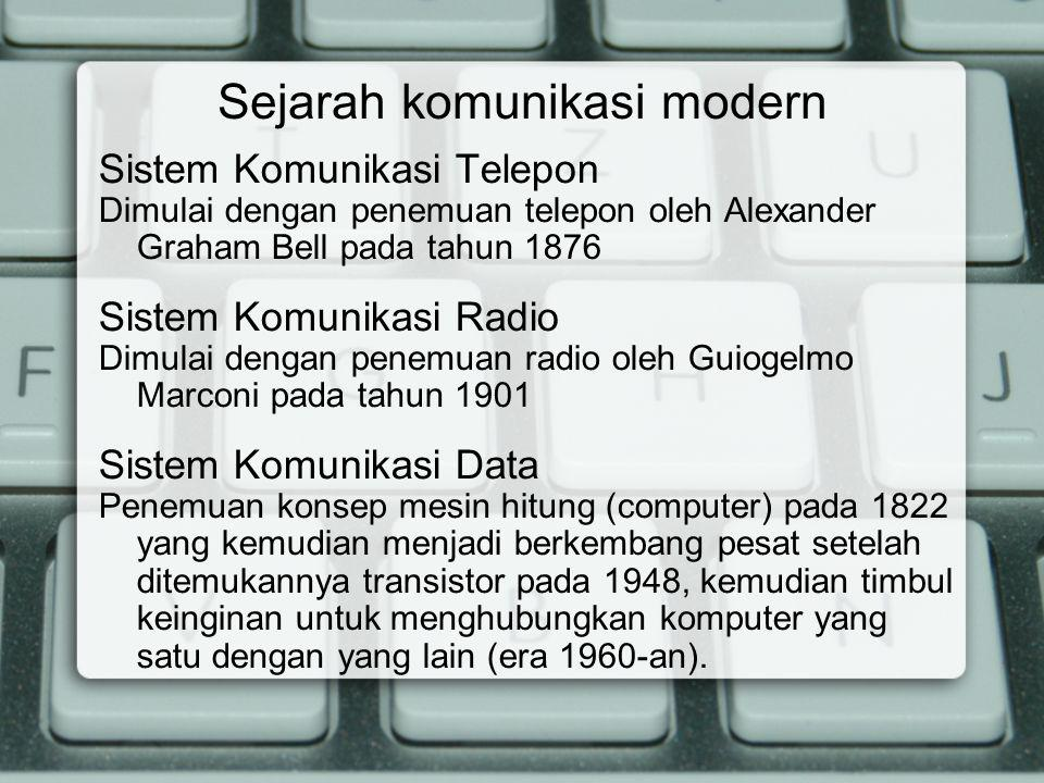 Sejarah komunikasi modern Sistem Komunikasi Telepon Dimulai dengan penemuan telepon oleh Alexander Graham Bell pada tahun 1876 Sistem Komunikasi Radio