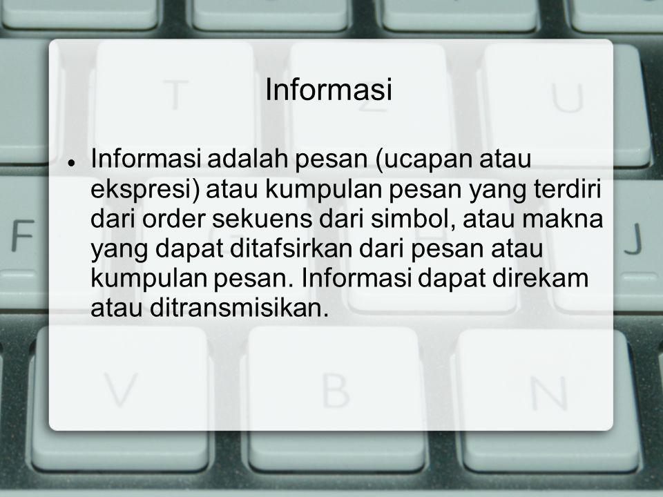 Informasi adalah pesan (ucapan atau ekspresi) atau kumpulan pesan yang terdiri dari order sekuens dari simbol, atau makna yang dapat ditafsirkan dari