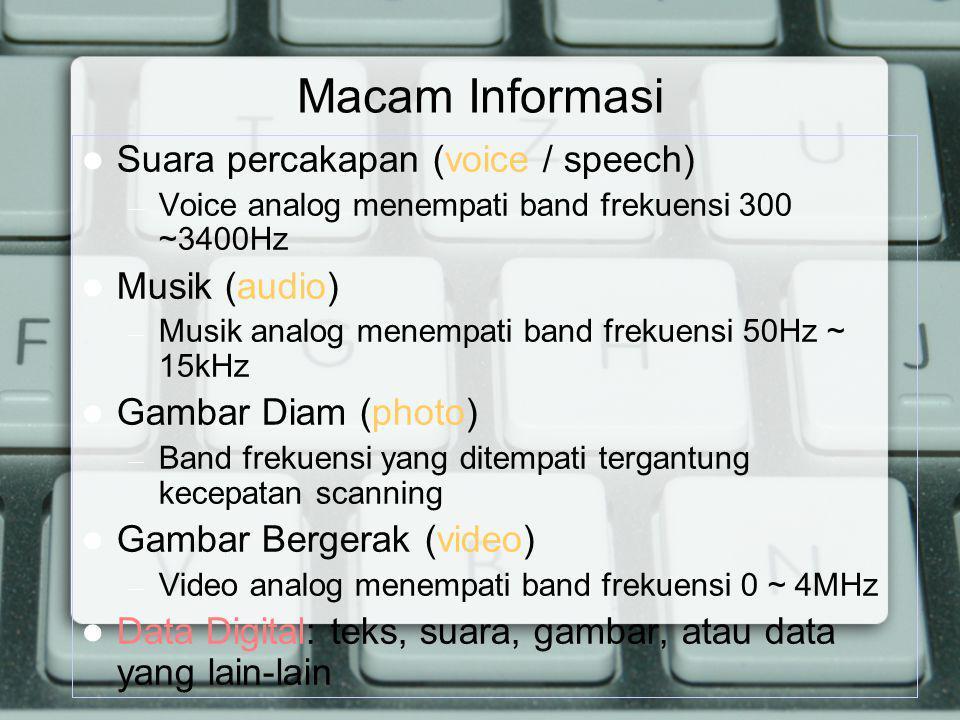Macam Informasi Suara percakapan (voice / speech) – Voice analog menempati band frekuensi 300 ~3400Hz Musik (audio) – Musik analog menempati band frek
