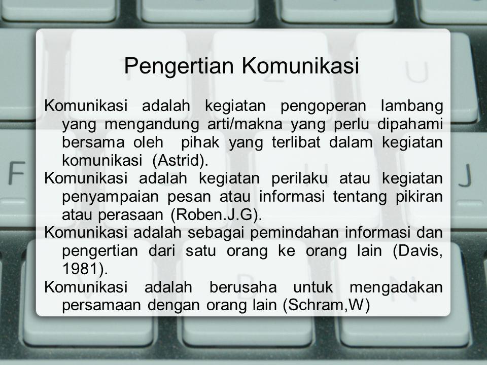 Pengertian Komunikasi Komunikasi adalah kegiatan pengoperan lambang yang mengandung arti/makna yang perlu dipahami bersama oleh pihak yang terlibat da