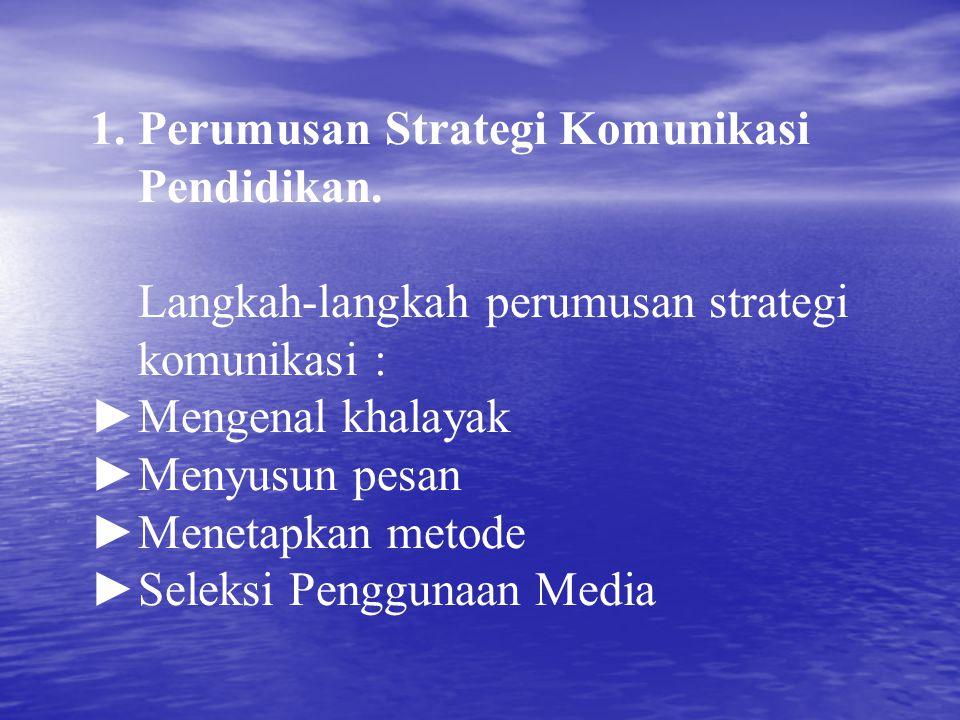 1. Perumusan Strategi Komunikasi Pendidikan. Langkah-langkah perumusan strategi komunikasi : ►Mengenal khalayak ►Menyusun pesan ►Menetapkan metode ►Se