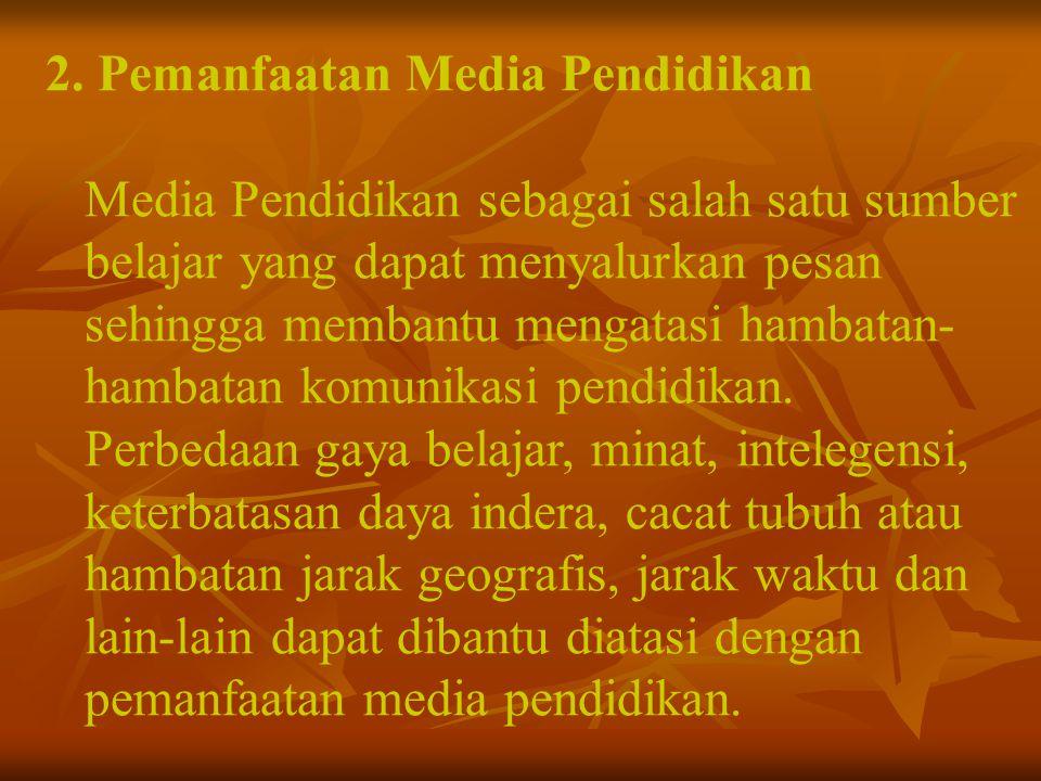 2. Pemanfaatan Media Pendidikan Media Pendidikan sebagai salah satu sumber belajar yang dapat menyalurkan pesan sehingga membantu mengatasi hambatan-
