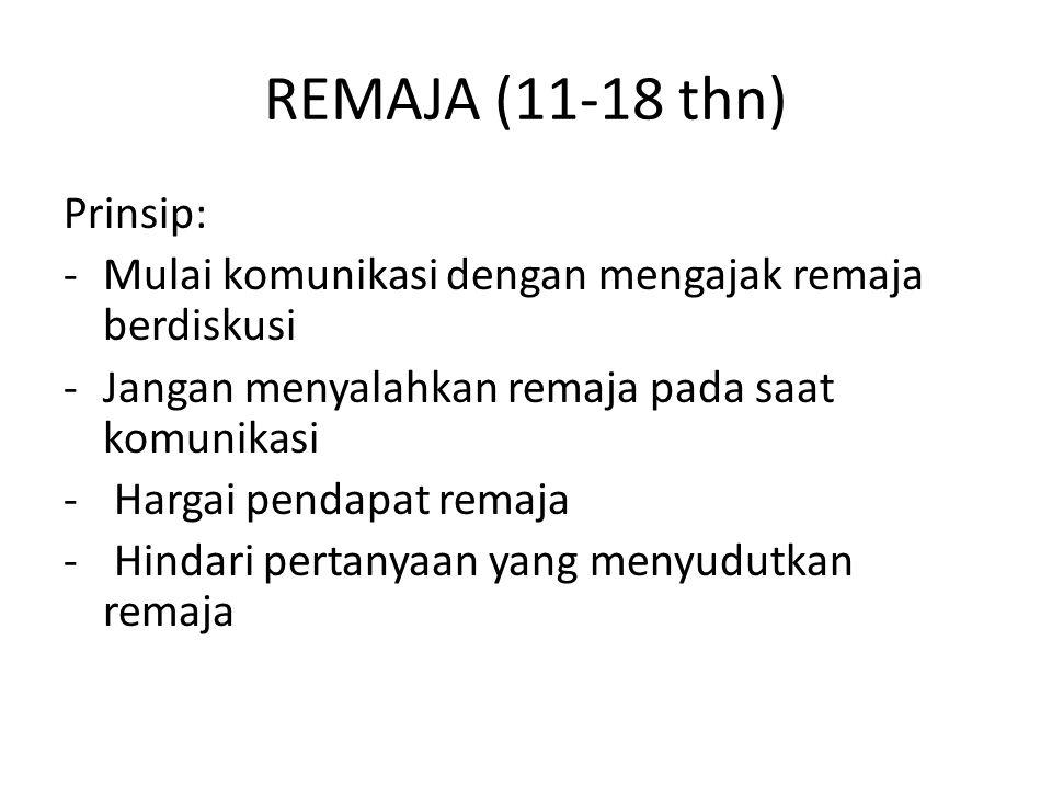REMAJA (11-18 thn) Prinsip: -Mulai komunikasi dengan mengajak remaja berdiskusi -Jangan menyalahkan remaja pada saat komunikasi - Hargai pendapat rema