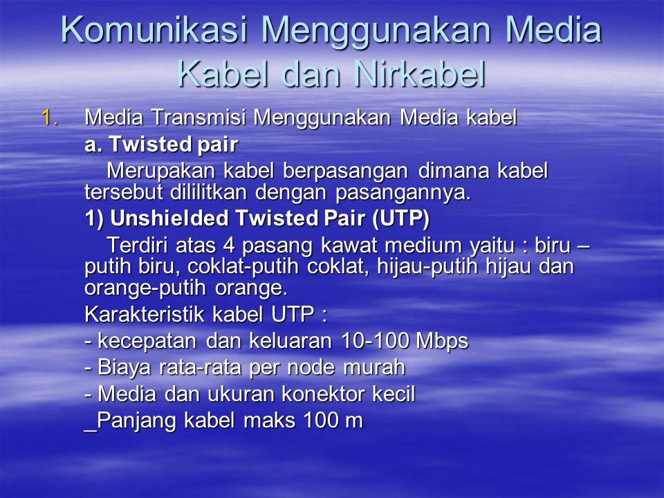 Komunikasi Menggunakan Media Kabel dan Nirkabel 1.Media Transmisi Menggunakan Media kabel a. Twisted pair Merupakan kabel berpasangan dimana kabel ter
