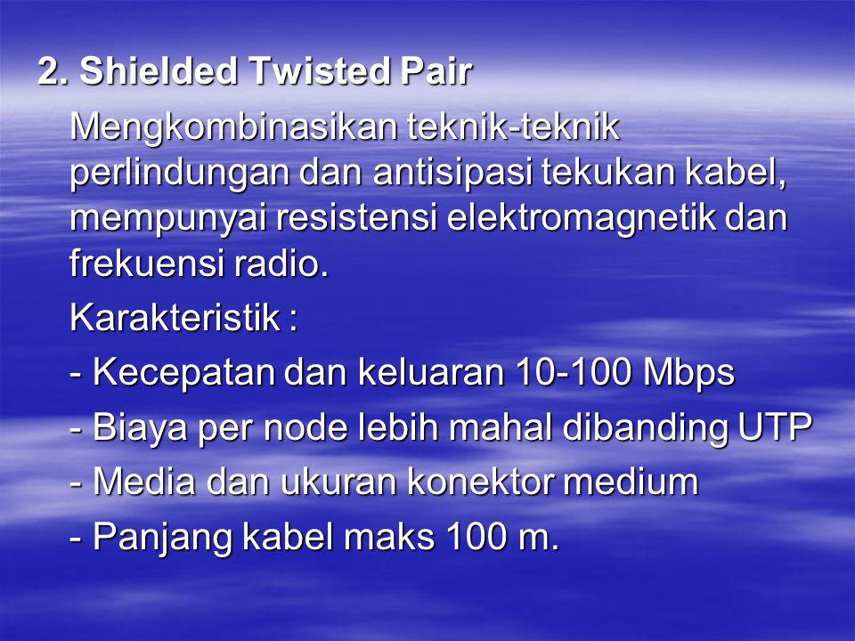 2. Shielded Twisted Pair Mengkombinasikan teknik-teknik perlindungan dan antisipasi tekukan kabel, mempunyai resistensi elektromagnetik dan frekuensi