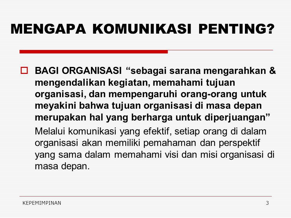KEPEMIMPINAN3 MENGAPA KOMUNIKASI PENTING.