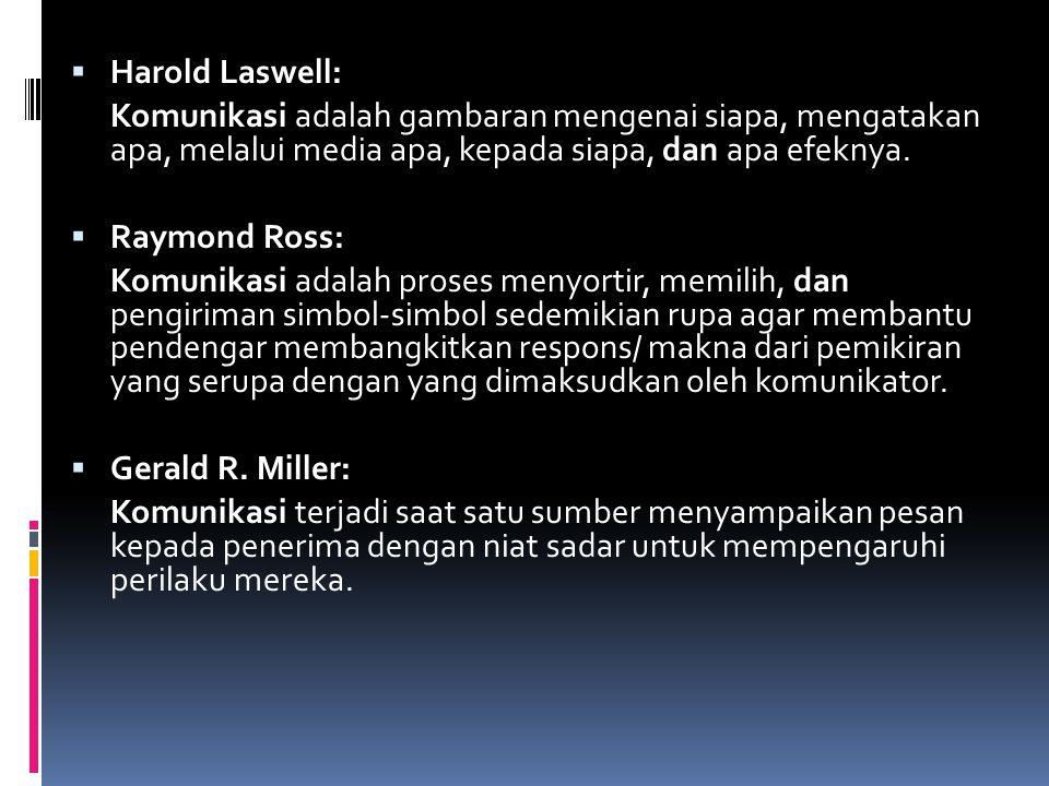  Harold Laswell: Komunikasi adalah gambaran mengenai siapa, mengatakan apa, melalui media apa, kepada siapa, dan apa efeknya.  Raymond Ross: Komunik