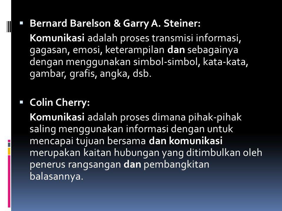  Bernard Barelson & Garry A. Steiner: Komunikasi adalah proses transmisi informasi, gagasan, emosi, keterampilan dan sebagainya dengan menggunakan si