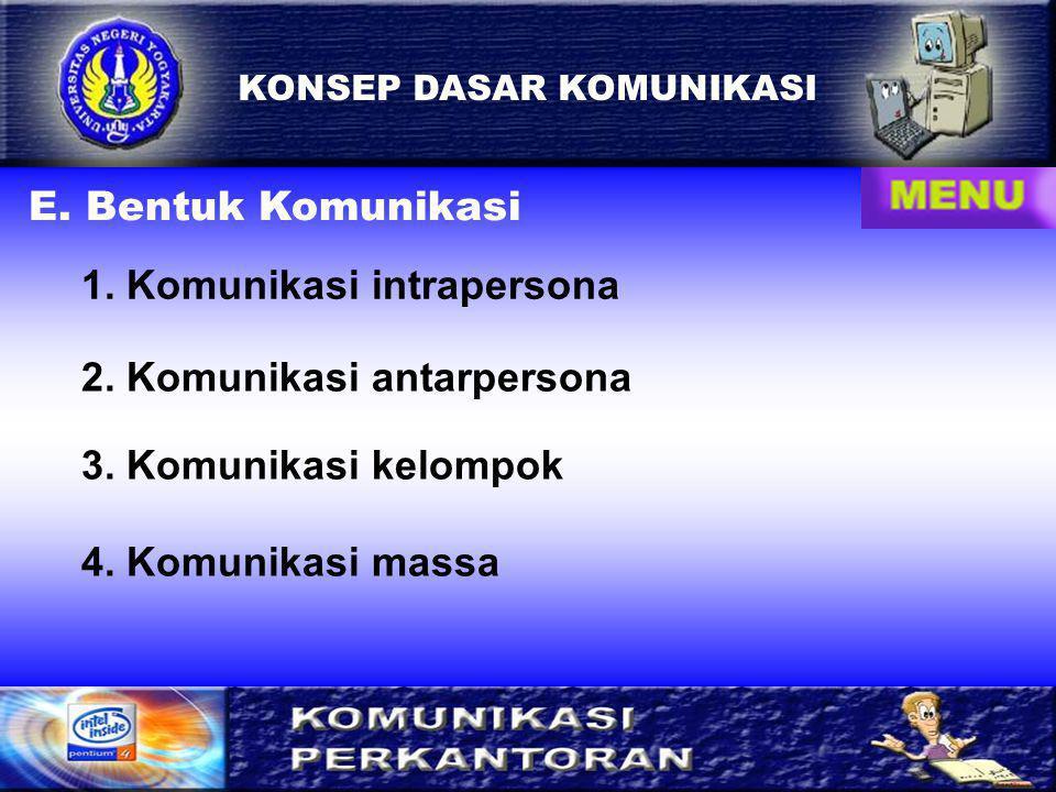7 KONSEP DASAR KOMUNIKASI E.Bentuk Komunikasi 1. Komunikasi intrapersona 2.