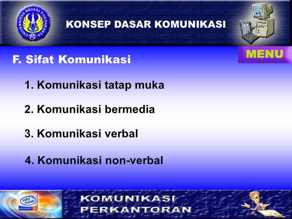 8 KONSEP DASAR KOMUNIKASI F.Sifat Komunikasi 1. Komunikasi tatap muka 2.