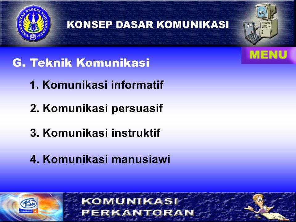 9 KONSEP DASAR KOMUNIKASI G.Teknik Komunikasi 1. Komunikasi informatif 2.