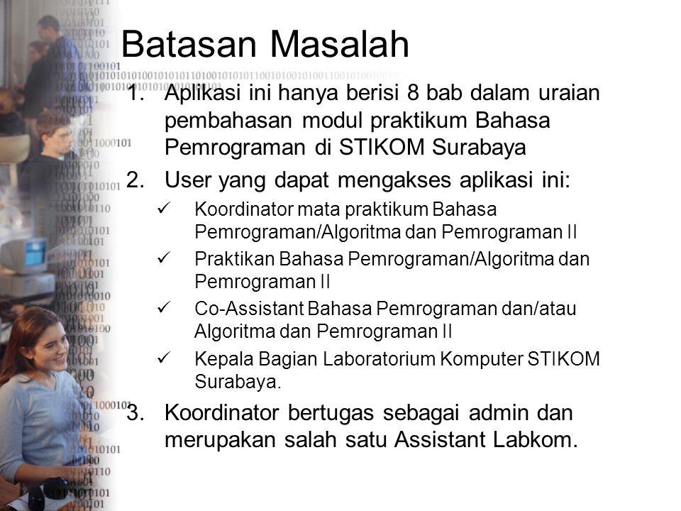 Batasan Masalah 1.Aplikasi ini hanya berisi 8 bab dalam uraian pembahasan modul praktikum Bahasa Pemrograman di STIKOM Surabaya 2.User yang dapat meng