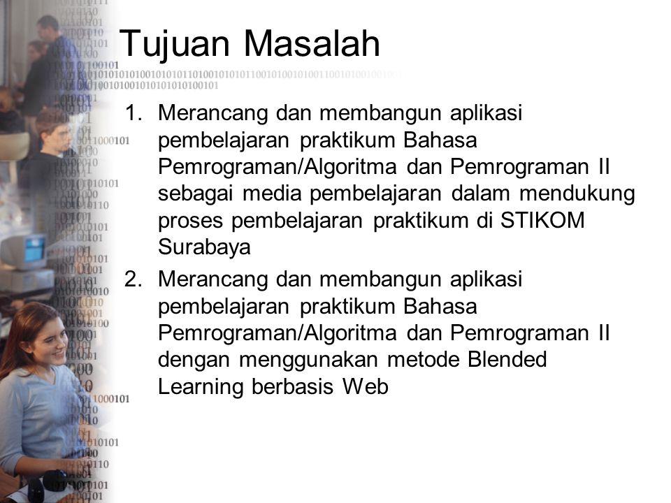 Tujuan Masalah 1.Merancang dan membangun aplikasi pembelajaran praktikum Bahasa Pemrograman/Algoritma dan Pemrograman II sebagai media pembelajaran da