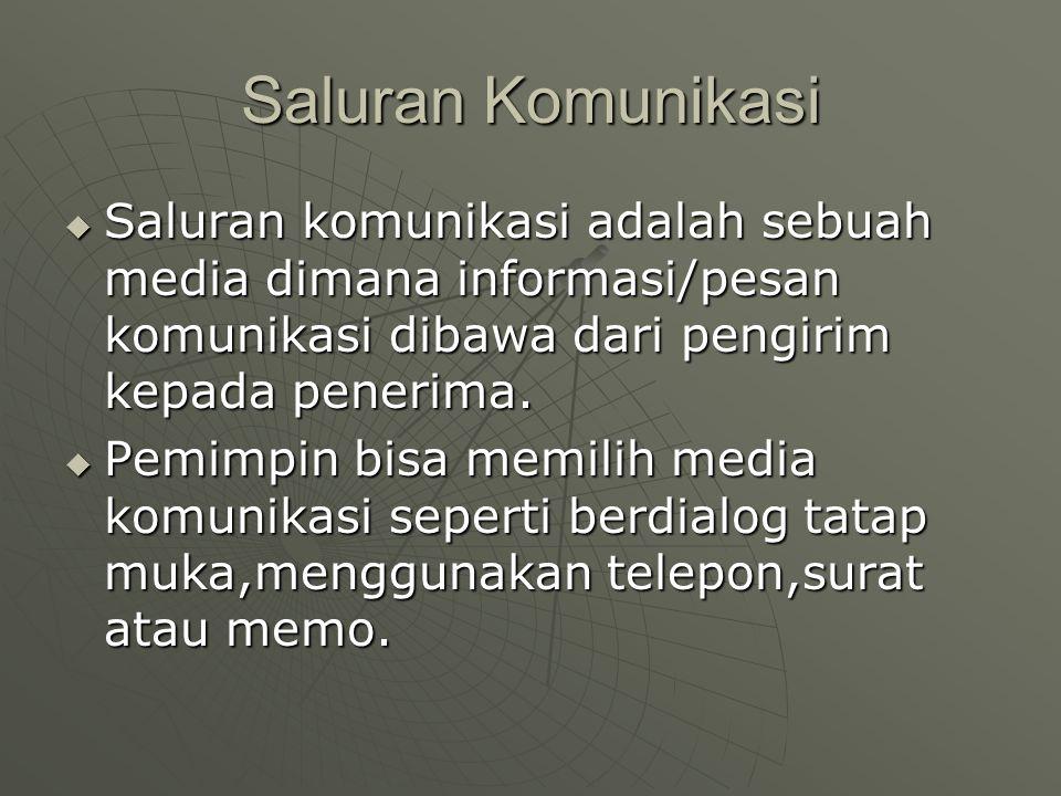 Saluran Komunikasi  Saluran komunikasi adalah sebuah media dimana informasi/pesan komunikasi dibawa dari pengirim kepada penerima.  Pemimpin bisa me