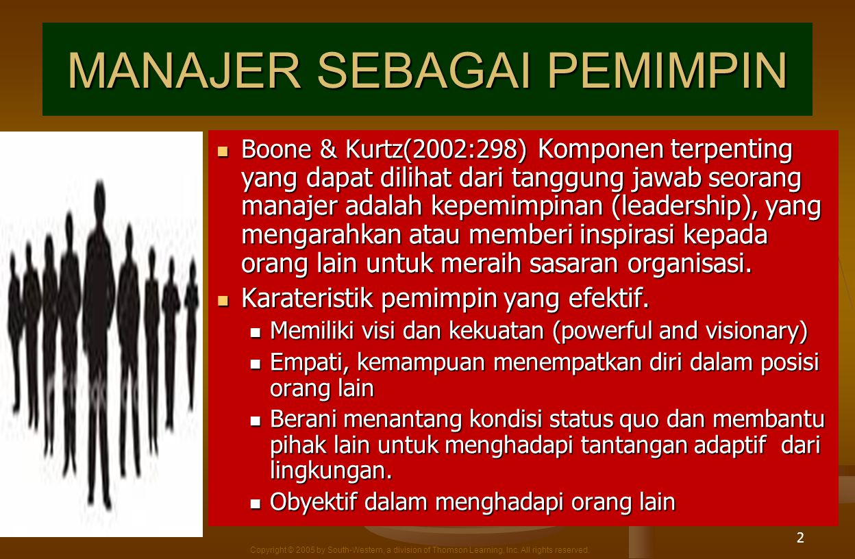 Copyright © 2005 by South-Western, a division of Thomson Learning, Inc. All rights reserved. 2 MANAJER SEBAGAI PEMIMPIN Boone & Kurtz(2002:298) Kompon