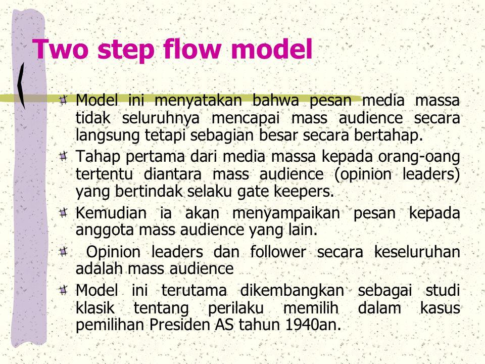 Two step flow model Model ini menyatakan bahwa pesan media massa tidak seluruhnya mencapai mass audience secara langsung tetapi sebagian besar secara bertahap.
