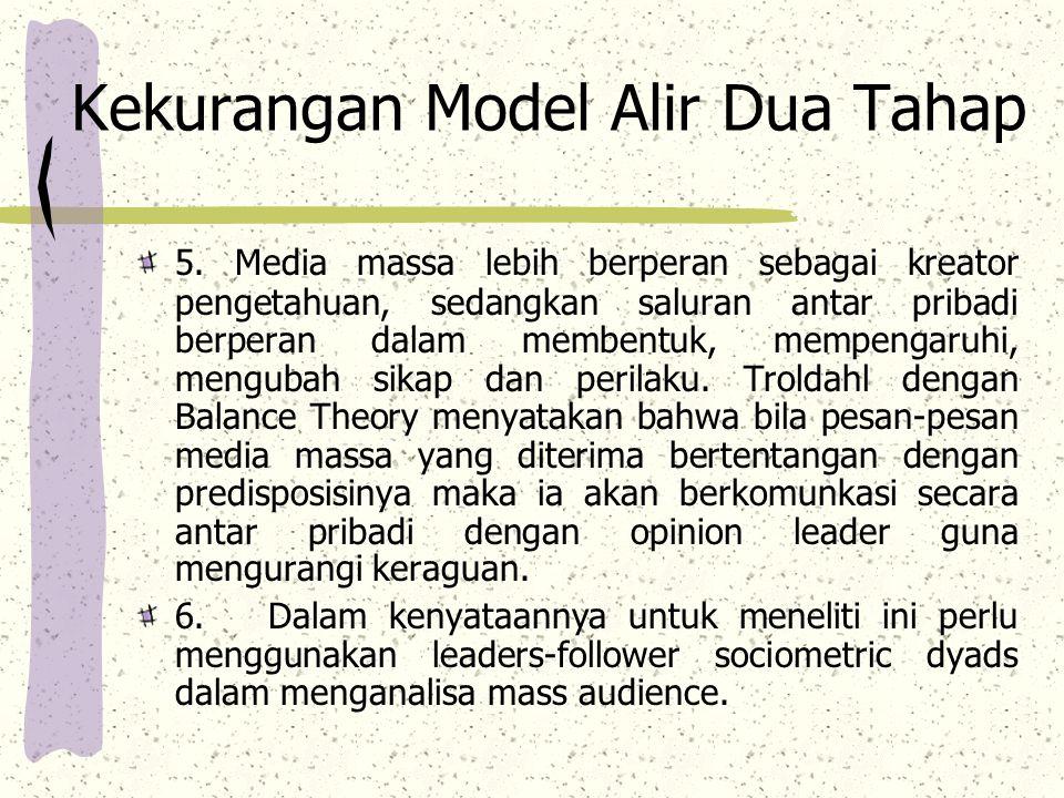 Kekurangan Model Alir Dua Tahap 5.