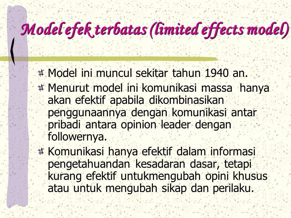 Model efek terbatas (limited effects model) Model ini muncul sekitar tahun 1940 an.