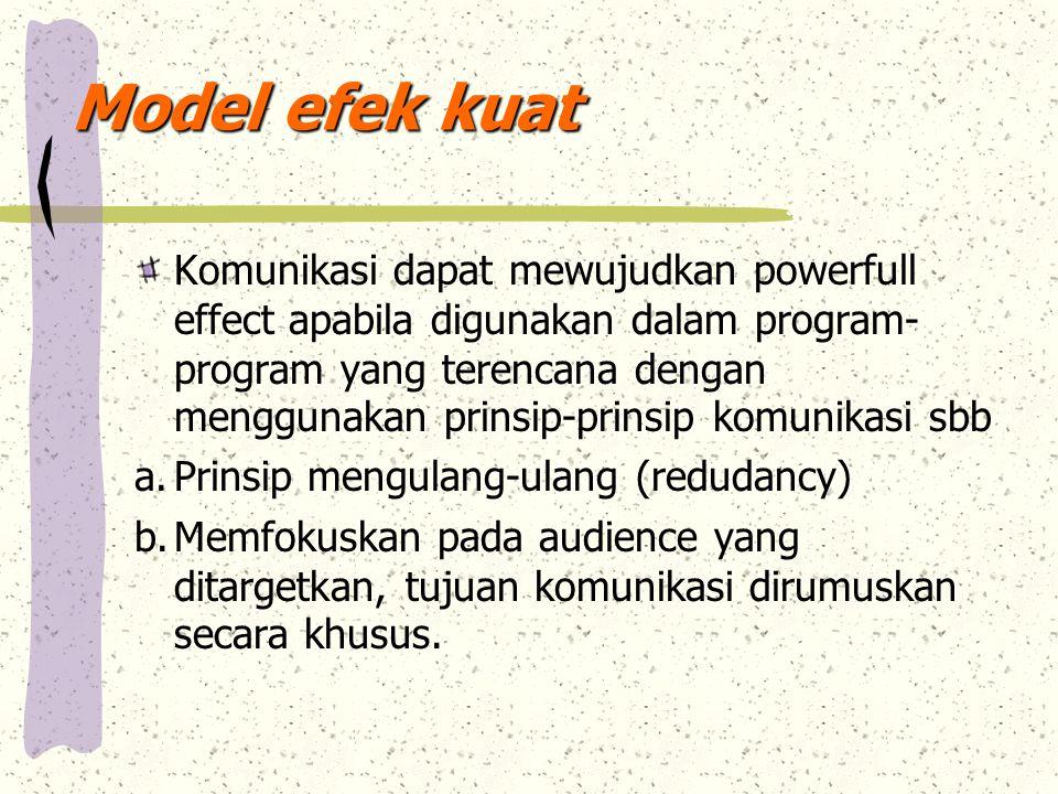 Model efek kuat Komunikasi dapat mewujudkan powerfull effect apabila digunakan dalam program- program yang terencana dengan menggunakan prinsip-prinsi