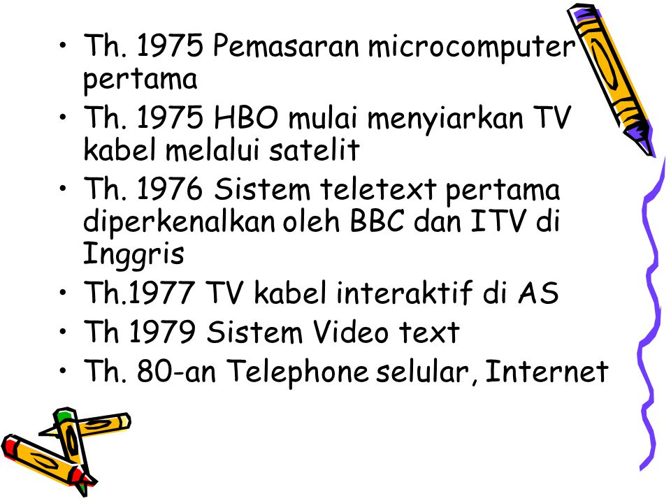Th. 1975 Pemasaran microcomputer pertama Th. 1975 HBO mulai menyiarkan TV kabel melalui satelit Th. 1976 Sistem teletext pertama diperkenalkan oleh BB