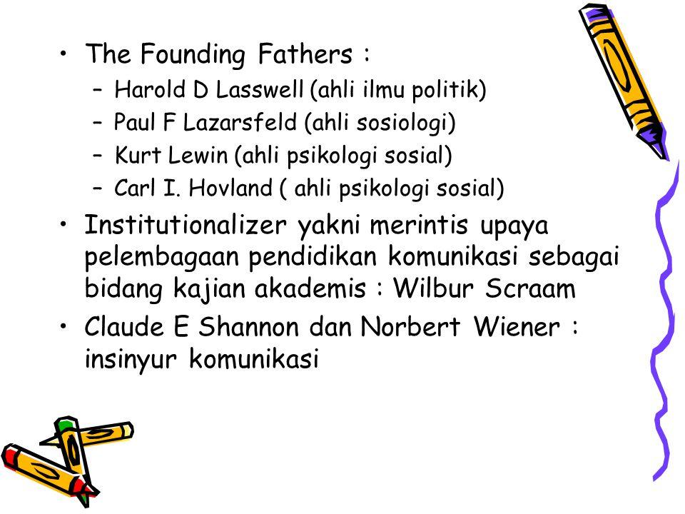 The Founding Fathers : –H–Harold D Lasswell (ahli ilmu politik) –P–Paul F Lazarsfeld (ahli sosiologi) –K–Kurt Lewin (ahli psikologi sosial) –C–Carl I.