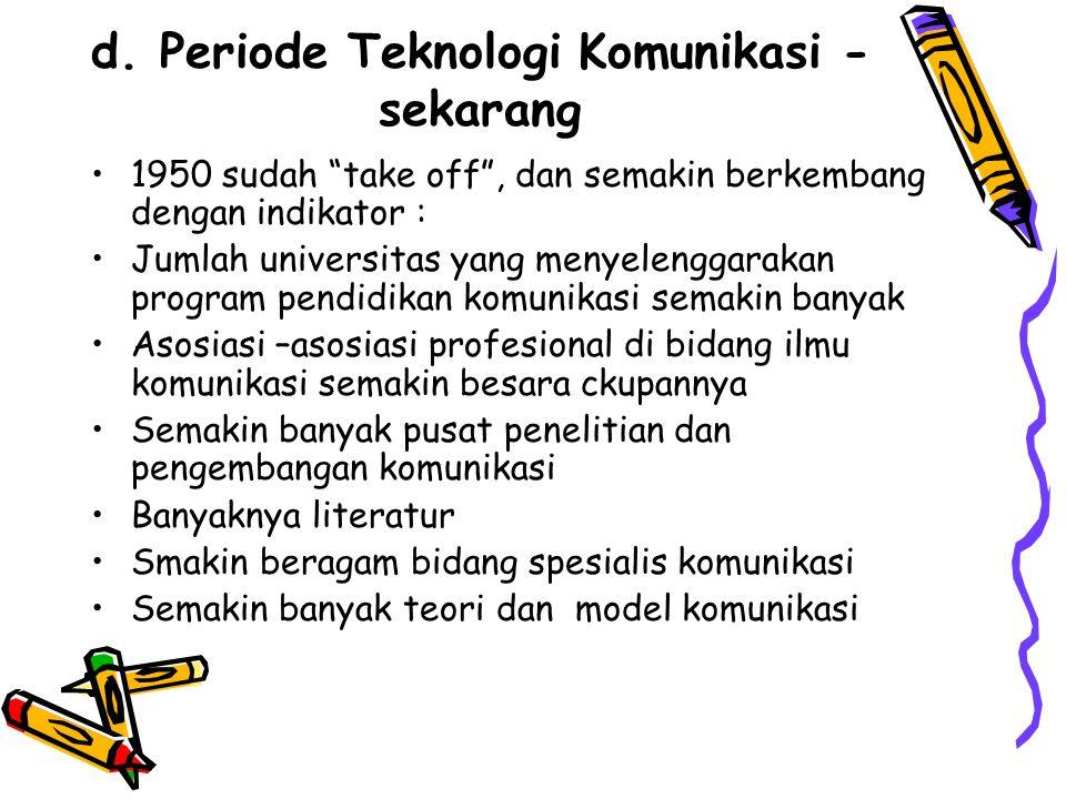"""d. Periode Teknologi Komunikasi - sekarang 1950 sudah """"take off"""", dan semakin berkembang dengan indikator : Jumlah universitas yang menyelenggarakan p"""