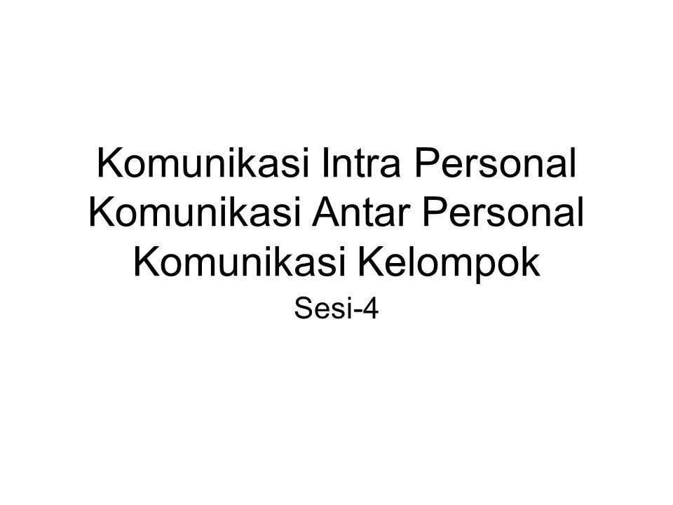 Komunikasi Intra Personal Komunikasi Antar Personal Komunikasi Kelompok Sesi-4
