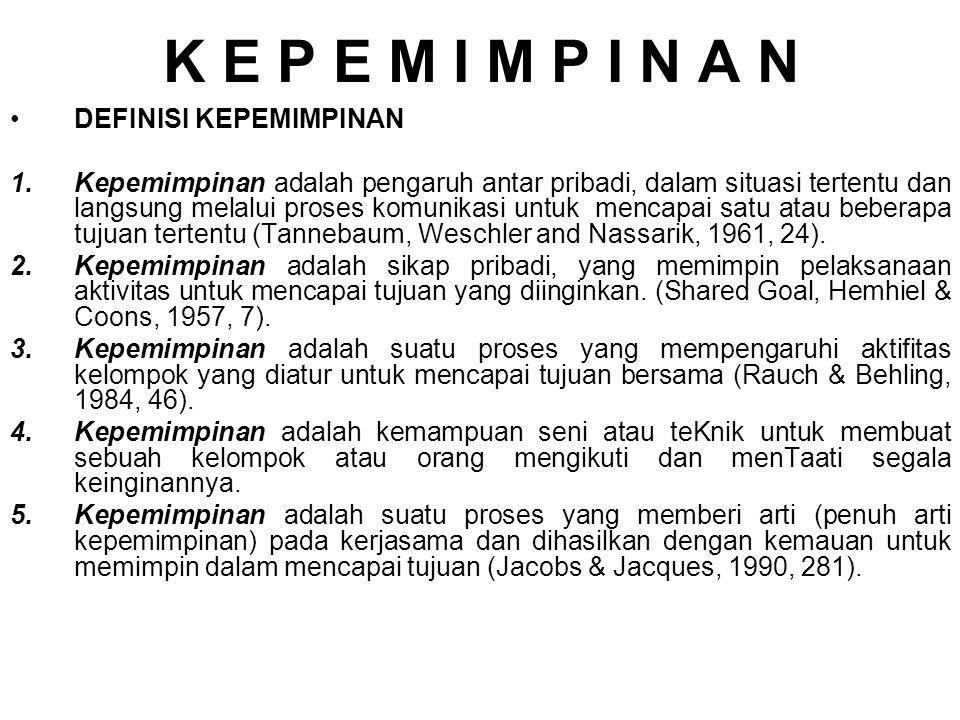 K E P E M I M P I N A N DEFINISI KEPEMIMPINAN 1.Kepemimpinan adalah pengaruh antar pribadi, dalam situasi tertentu dan langsung melalui proses komunikasi untuk mencapai satu atau beberapa tujuan tertentu (Tannebaum, Weschler and Nassarik, 1961, 24).