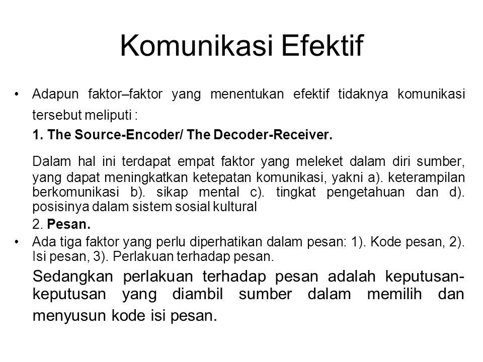 Komunikasi Efektif Adapun faktor–faktor yang menentukan efektif tidaknya komunikasi tersebut meliputi : 1. The Source-Encoder/ The Decoder-Receiver. D