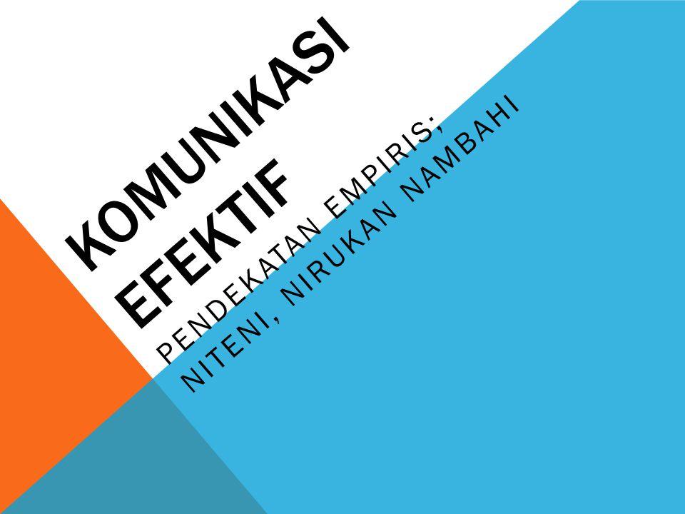 KOMUNIKASI EFEKTIF PENDEKATAN EMPIRIS; NITENI, NIRUKAN NAMBAHI