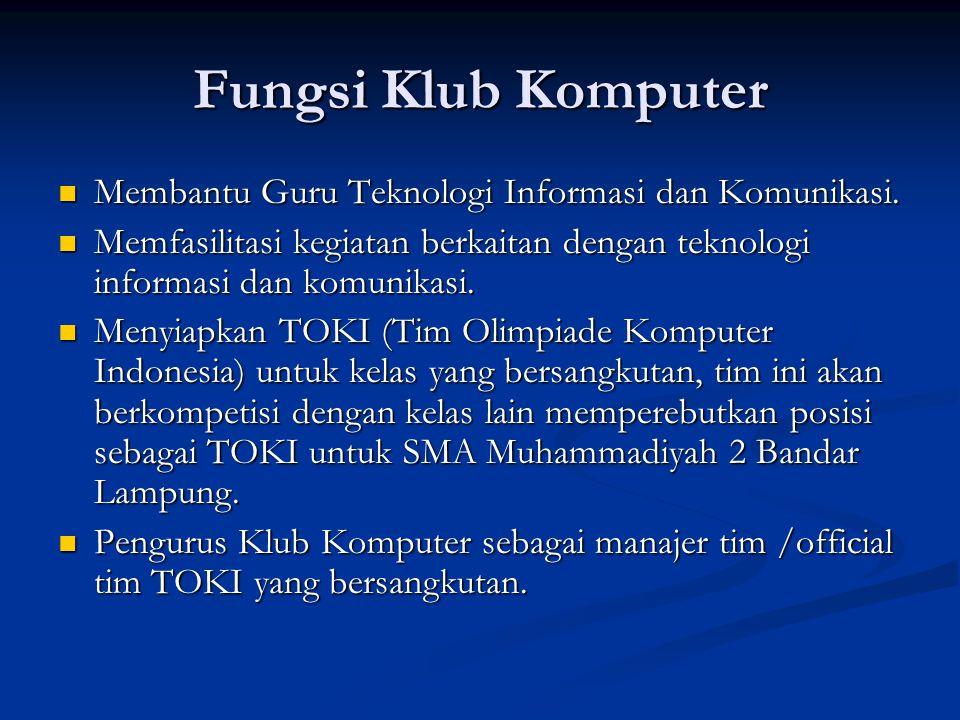 Fungsi Klub Komputer Membantu Guru Teknologi Informasi dan Komunikasi.