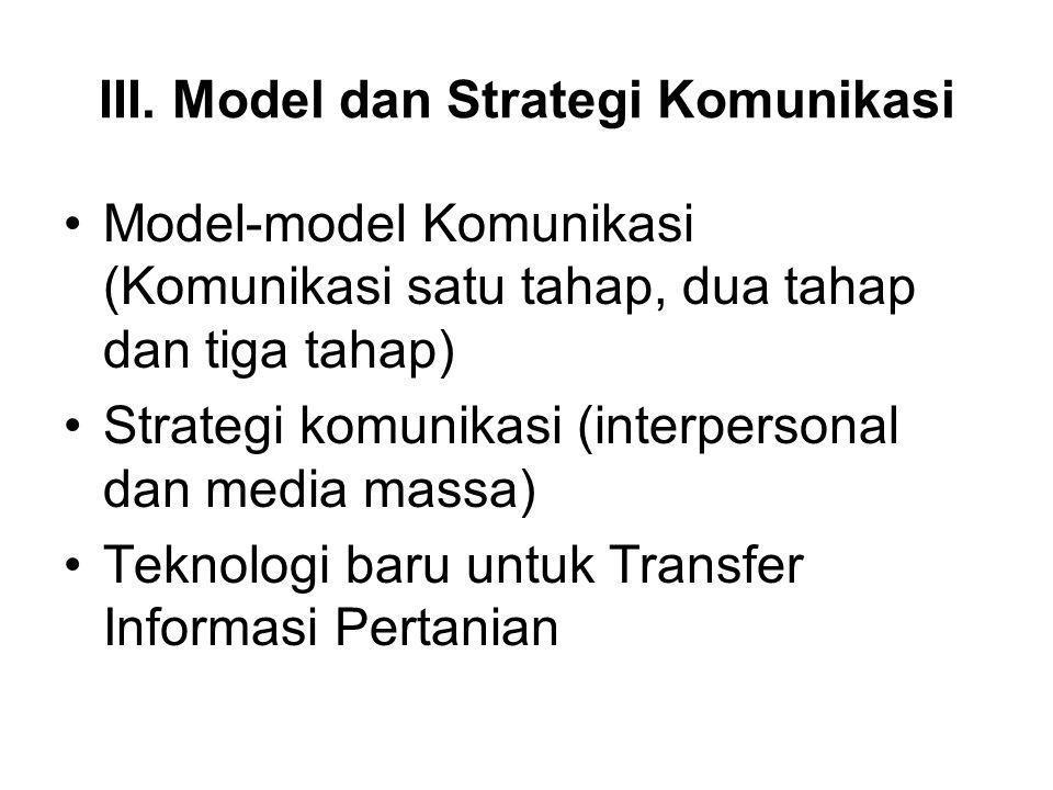 III. Model dan Strategi Komunikasi Model-model Komunikasi (Komunikasi satu tahap, dua tahap dan tiga tahap) Strategi komunikasi (interpersonal dan med