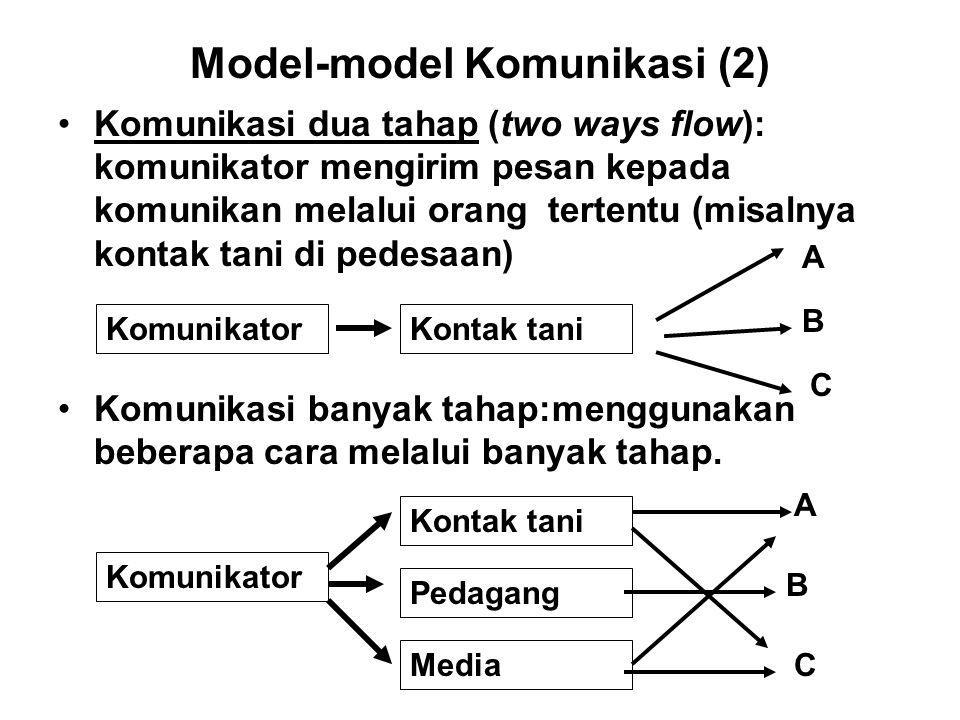 Model-model Komunikasi (2) Komunikasi dua tahap (two ways flow): komunikator mengirim pesan kepada komunikan melalui orang tertentu (misalnya kontak t