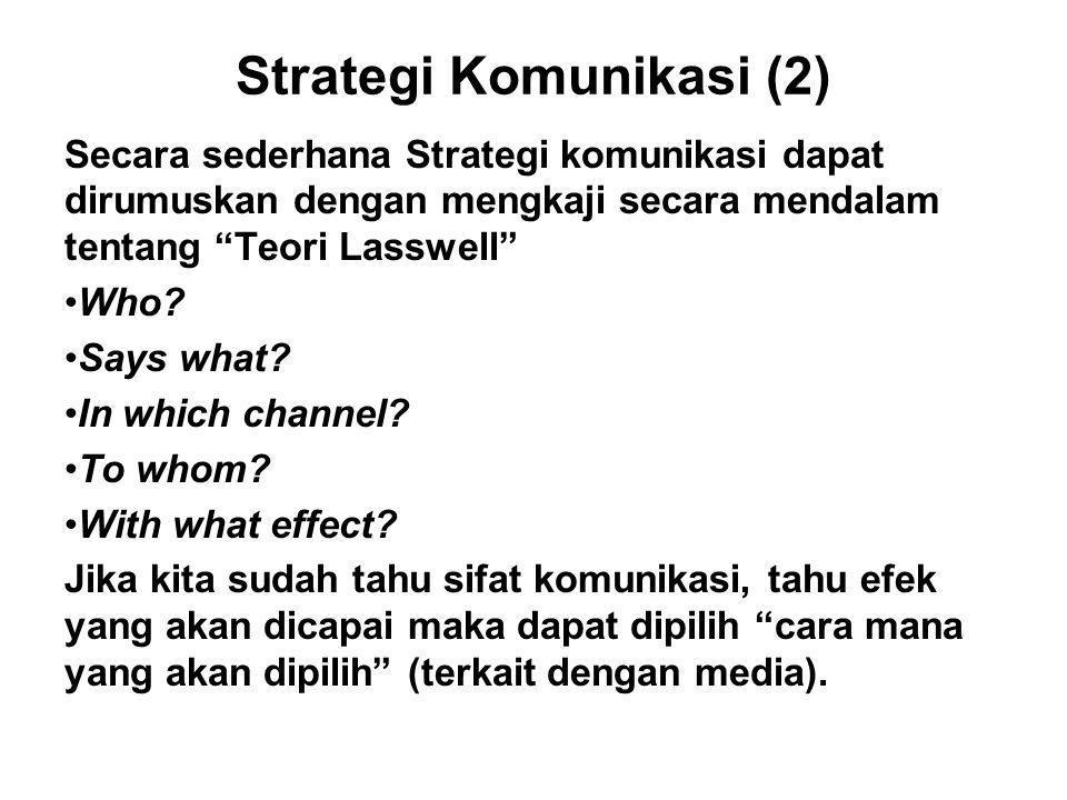 "Strategi Komunikasi (2) Secara sederhana Strategi komunikasi dapat dirumuskan dengan mengkaji secara mendalam tentang ""Teori Lasswell"" Who? Says what?"