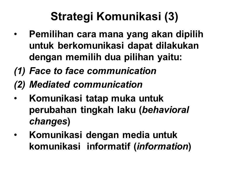 Strategi Komunikasi (3) Pemilihan cara mana yang akan dipilih untuk berkomunikasi dapat dilakukan dengan memilih dua pilihan yaitu: (1)Face to face co