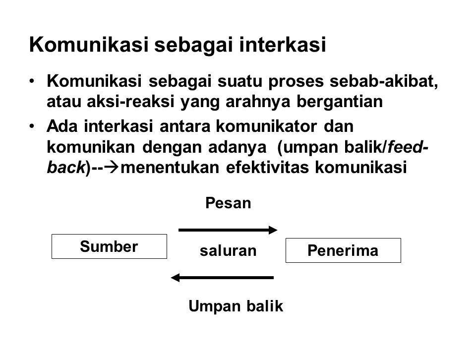 Komunikasi sebagai interkasi Komunikasi sebagai suatu proses sebab-akibat, atau aksi-reaksi yang arahnya bergantian Ada interkasi antara komunikator d